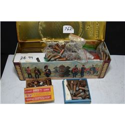 Scotch whiskey tin containing large selection of vintage rim fire cartridges including .32 and .38 e