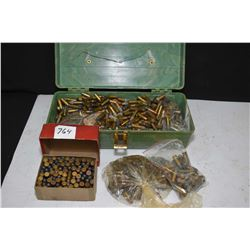 Small tackle box chok-o-blok full box of assorted predominately 32 calibre center fire rounds, with