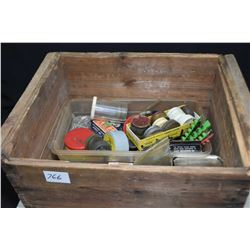 Vintage wooden crate containing blanks and insert cartridges etc.