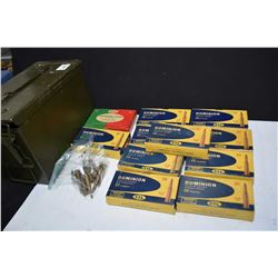Metal ammunition box with nine full 20 round boxes of Dominion .22 Savage, a 20 count box of CIL unp