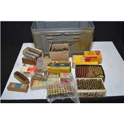 Metal ammunition box containing full and partial boxes, stripper clips and loose rounds of 9mm Luger