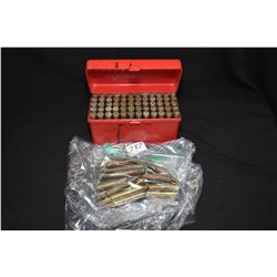 Selection of .300 Winmag ammunition including approximately 20 loose factory rounds and a plastic ca