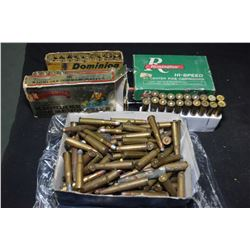 Large selection of 30-30 ammunition including several loose rounds, an empty Klondike Commemorative