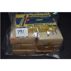 Selection of .303 British ammunition including six assorted 20 count full boxes and one with 7 round