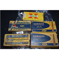 Selection of 30-30 Winchester ammunition including four full 20 count boxes of Dominion CIL ( appear