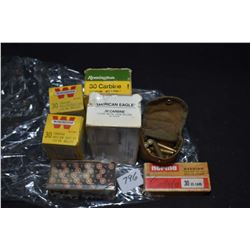 Selection of .30 Carbine ammunition including American Eagle 50 count box containing 40 factory and