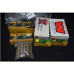 Four 20 count boxes of .35 Remington including two full Remington, a full Winchester, a half full Wi
