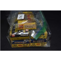 Three boxes of 20 count Dominion CIL .32 Remington, two full 20 count boxes of .32 Winchester Specia