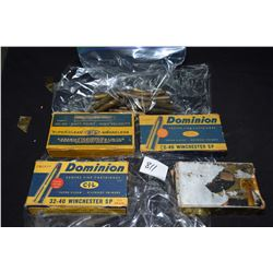Selection of 30-40 Winchester ammo including three full 20 count boxes of Dominion CIL, 17 rounds of