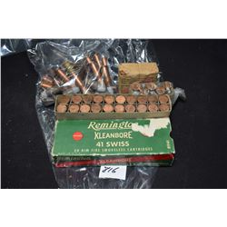 Selection of .41 Swiss rimfire including a full box of twenty Remington Kleanbore, large selection o