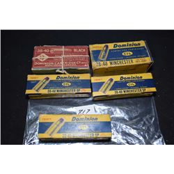 Five boxes of vintage and collectible 38-40 Winchester ammunition including full CIL 50 count box, t
