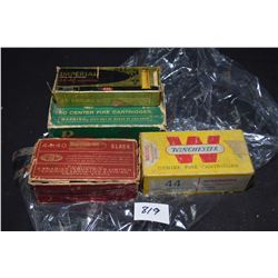 Selection of vintage and collectible 44-40 ammunition including a full 50 count box Dominion Industr