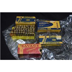 Selection of 32-20 Winchester ammunition including two full 20 count boxes of Dominion CIL, a 50 cou