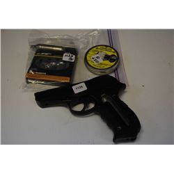 Powerline 008 .177 cal. pellet/BB Co2 powered pistol with Co2 cannisters, note left side of grip is