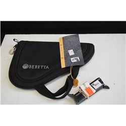Brand new Beretta soft pistol case and two Beretta model 70 magazines