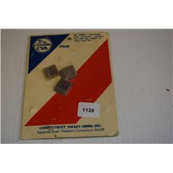 Factory sealed package of three flints made by Connecticut Valley Arms Inc.