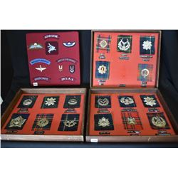 Four collages of military badges and patches including three which depict hat badge and matching tar