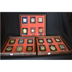 Three collages of military badges + tartans