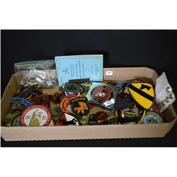 Large selection of military, police and miscellaneous patches, buttons, foreign coins etc.