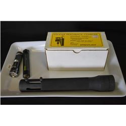 """Selection of flashlight accessories including a 5.11 Tactical triple """"A"""" cell adapter, aluminium fla"""