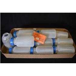 Twelve plastic lidded bottles