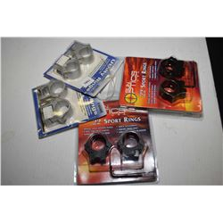 Four sets of new in package scope rings including B-Square no. 27055, B-Square no. 20057, and two pa