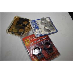 Three new in package pairs of scope rings including B-Square no. 20057, Sun Optics .22 Sport rings a