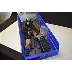 Selection of new and used accessories including mag pouches, scope mounts, scopes, rail sections etc