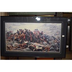 Framed military battle scene print