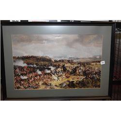 Framed battle scene print