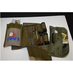 Three firearm cleaning kits in pouches