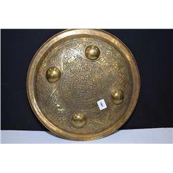 "Brass hand chaised battle shield 12"" in diameter"