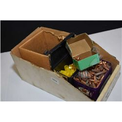 Assortment of bullets including Sierra 22 cal. .224 diameter, .38 calibre lead, Barnes .50 cal muzzl