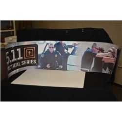 Two small single sided 5.11 Tactical promotional banner