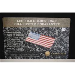 "Leupold ""Golden Ring, Full Lifetime Guarantee"" counter top protector"