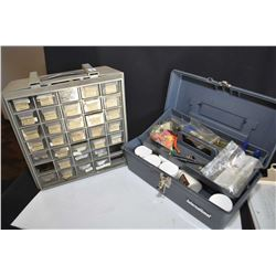 Tackle box with Palmer Cap-Chur equipment including charger and darts etc. plus a multi-drawer cabin