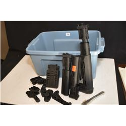 Plastic tote with parts including stock, stock post, AR vise block, magazine handles etc.