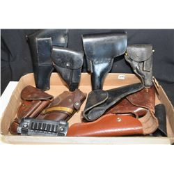 Large selection of vintage mostly leather holsters
