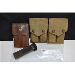 Three pairs of vintage 1911 mags in double pouches etc.
