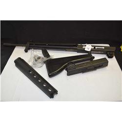 Assorted parts for AR 18 including trigger group, stock, bolt, bolt carrier, forend, barrel, gas tub