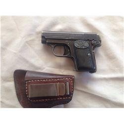 PROHIB 12-6 : F.N. Browning Model 1906 6.35mm cal 6 shot semi auto pistol w/54mm bbl [ fading blue f