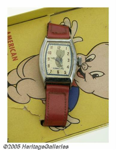 Porky Pig Wrist Watch with Box (Ingraham Co , 194