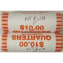 2-$10 ROLLS OF 2013-P MT. RUSHMORE QUARTERS BU