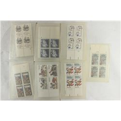 7 ASSORTED USPS 20 CENT POSTAGE PLATE BLOCKS