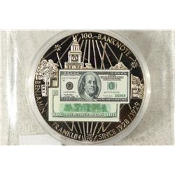 "COLORIZED 1 3/4"" $100 FRANKLIN BANK NOTE COIN"