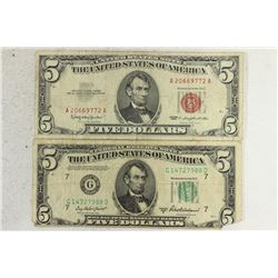 1950-B $5 FRN AND 1963 $5 US NOTE GREEN AND RED