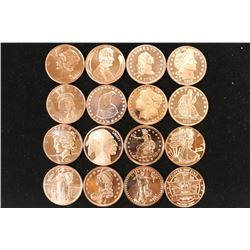 16-ALL DIFFERENT 1 OZ. .999 FINE COPPER ROUNDS