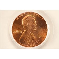 1986 LINCOLN CENT PCGS MS67RD