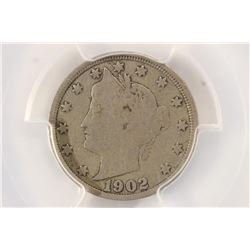 "1902 LIBERTY ""V"" NICKEL PCGS VERY GOOD 08"