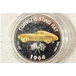 "1 1/2"" 1964 CORVETTE STINGRAY PROOF TOKEN MEDAL"